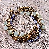 Multi-gemstone beaded torsade bracelet, 'Thai Tranquility' - Multi-Gemstone Beaded Torsade Bracelet from Thailand