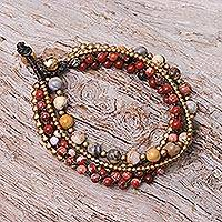 Agate and serpentine beaded torsade bracelet, 'Wonderful Mood' - Agate and Jasper Beaded Torsade Bracelet from Thailand