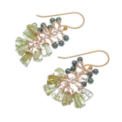 Peridot and quartz beaded cluster earrings, 'Greenery' - Peridot and Quartz Beaded Cluster Earrings from Thailand