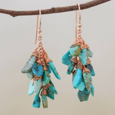 Reconstituted turquoise cluster dangle earrings, 'Save the Ocean' - Reconstituted Turquoise Chip Cluster Dangle Earrings