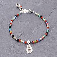 Chalcedony beaded bracelet, 'Hill Tribe Rainbow' - Chalcedony Beaded Bracelet with Karen Silver Charm