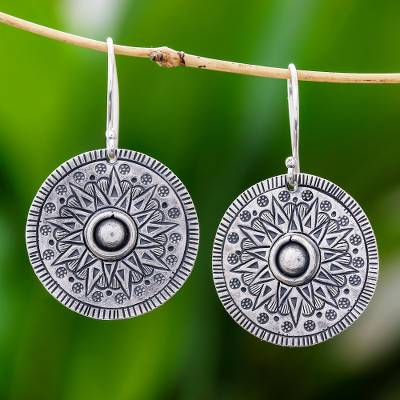 Silver dangle earrings, 'Powerful Sun' - Circular Karen Silver Dangle Earrings from Thailand