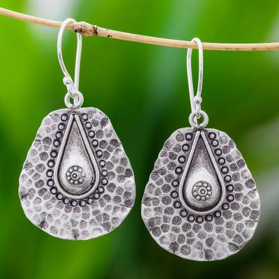 Silver dangle earrings, 'Hammered Drops' - Handmade Drop-Shaped Karen Silver Earrings from Thailand