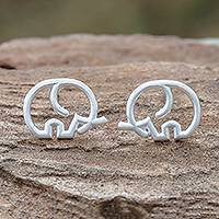 Sterling silver stud earrings, 'Cute Tusks' - Round Sterling Silver Elephant Stud Earrings from Thailand