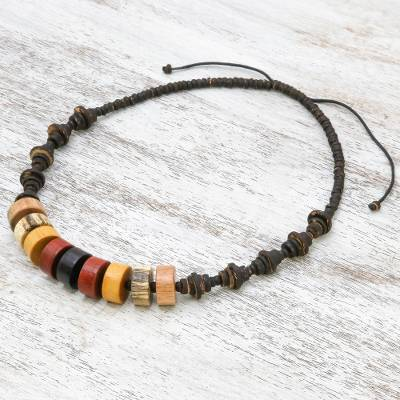 Wood beaded necklace, 'Fun Nature' - Pyramid Pattern Beaded Necklace with Different Woods