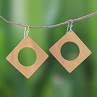 Wood dangle earrings, 'Light Brown Natural Creativity' - Square Lontar Wood Dangle Earrings from Thailand
