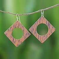 Wood dangle earrings, 'Natural Creativity' - Square Lontar Wood Dangle Earrings from Thailand