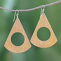 Wood dangle earrings, 'Light Brown Natural Abstract' - Abstract Light Brown Jackfruit Wood Dangle Earrings