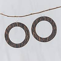 Wood dangle earrings, 'Dark Brown Rings of Nature' - Dark Brown Lontar Wood Ring-Shaped Dangle Earrings
