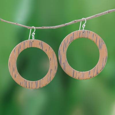 Wood dangle earrings, 'Rings of Nature' - Lontar Wood Ring-Shaped Dangle Earrings from Thailand