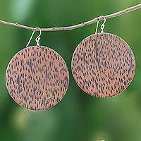 Wood dangle earrings, 'Circular Nature' - Circular Lontar Wood Dangle Earrings from Thailand