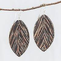 Wood dangle earrings, 'Profound Forest' - Leaf-Shaped Lontar Wood Dangle Earrings from Thailand