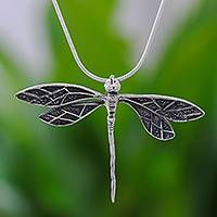 Sterling silver pendant necklace, 'Brave Dragonfly' - Dragonfly Sterling Silver Pendant Necklace from Thailand
