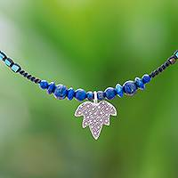 Lapis lazuli beaded pendant necklace, 'Boho Maple' - Maple Leaf Lapis Lazuli Beaded Pendant Necklace