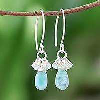 Larimar and aquamarine dangle earrings, 'Watery Life' - Larimar and Aquamarine Dangle Earrings from Thailand