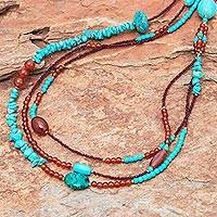 Multi-gemstone beaded strand necklace, 'Boho Charm' - Multi-Gemstone Beaded Strand Necklace from Thailand