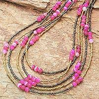 Quartz and agate beaded strand necklace, 'Boho Elegance in Pink' - Pink Quartz and Agate Beaded Strand Necklace from Thailand