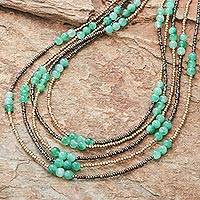Quartz beaded strand necklace, 'Boho Elegance in Green' - Green Quartz Beaded Strand Necklace from Thailand