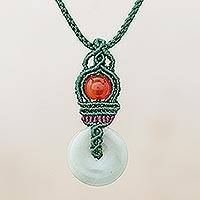 Jade and chalcedony macrame pendant necklace, 'Sunshine Ring' - Jade and Chalcedony Macrame Pendant Necklace from Thailand