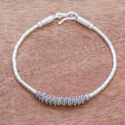 Silver beaded bracelet, 'Karen Rope' - Rope Pattern Silver Beaded Bracelet from Thailand