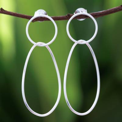 Sterling silver dangle earrings, 'Fascinating Loops' - Open Hoop Sterling Silver Dangle Earrings from Thailand