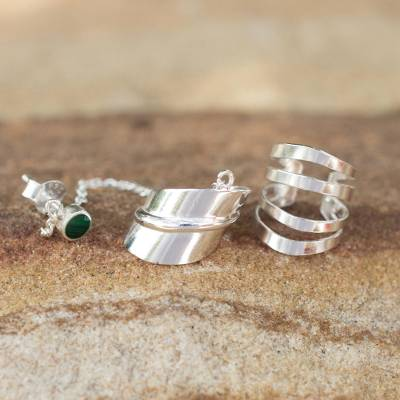 Sterling silver ear cuffs, 'Forest Whisper' - Sterling Silver Ear Cuffs with Chain in Green from Thailand
