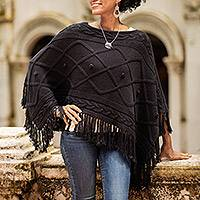 Short cotton poncho, 'Charming Knit in Onyx' - Short Knit Cotton Poncho in Onyx from Thailand