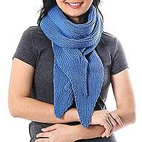 Cotton scarf, 'Ascot Charm in Iris' - Knit Cotton Wrap Scarf in Iris from Thailand