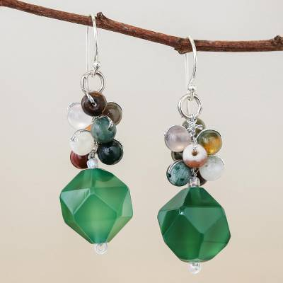 Multi-gemstone beaded cluster earrings, 'Beautiful Glam in Green' - Multi-Gemstone Beaded Cluster Earrings in Green
