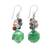 Multi-gemstone beaded cluster earrings, 'Beautiful Glam in Green' - Multi-Gemstone Beaded Cluster Earrings in Green (image 2a) thumbail