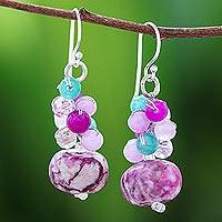 Jasper and quartz beaded cluster earrings, 'Exotic Colors' - Jasper and Quartz Beaded Cluster Earrings from Thailand