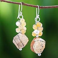Multi-gemstone beaded cluster earrings, 'Beautiful Glam in Brown' - Multi-Gemstone Beaded Cluster Earrings in Brown