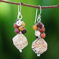 Jasper beaded cluster earrings, 'Beautiful Glam' - Jasper Beaded Cluster Earrings from Thailand