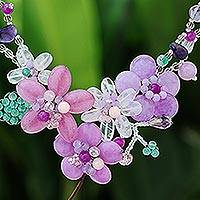 Multi-gemstone beaded statement necklace, 'Lavender Garden' - Floral Multi-Gemstone Beaded Statement Necklace