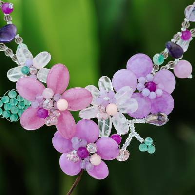 Multi-gemstone beaded statement necklace, Lavender Garden