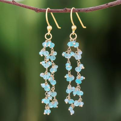 Gold accented apatite dangle earrings, 'Arctic Dream' - Gold Accented Apatite Dangle Earrings from Thailand