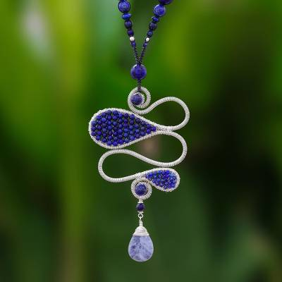 Lapis lazuli and sodalite beaded pendant necklace, Bohemian Delicacy
