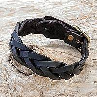 Leather braided wristband bracelet, 'Everyday Charm in Black' - Leather Braided Wristband Bracelet in Black from Thailand