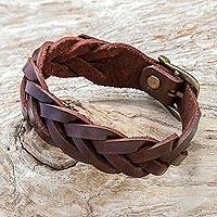 Leather braided wristband bracelet, 'Everyday Charm in Espresso' - Leather Braided Wristband Bracelet in Espresso from Thailand