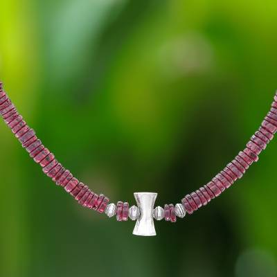 Garnet beaded necklace, 'Velvety Love' - Garnet and Karen Silver Beaded Necklace from Thailand