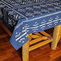 Batik cotton tablecloth, 'Rivers Between Mountains' - Zigzag Batik Cotton Tablecloth from Thailand