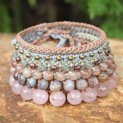 Multi-gemstone beaded macrame bracelet, 'Bohemian Sunshine' - Multi-Gemstone Beaded Macrame Bracelet from Thailand