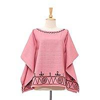 Cotton blouse, 'Butterfly Spirals in Pink' - Spiral Embroidered Cotton Blouse in Pink from Thailand