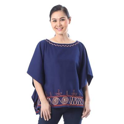 Cotton blouse, 'Butterfly Spirals in Indigo' - Spiral Embroidered Cotton Blouse in Indigo from Thailand