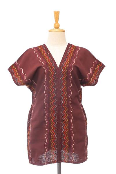 Cotton blouse, 'Karen Style in Mahogany' - Wavy Embroidered Cotton Blouse in Mahogany from Thailand