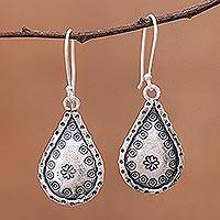 Silver dangle earrings, 'Refreshing Drops' - Drop-Shaped Karen Silver Dangle Earrings from Thailand