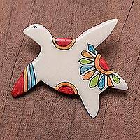 Ceramic brooch pin, 'Floral Sea Turtle' - Floral Ceramic Sea Turtle Brooch from Thailand