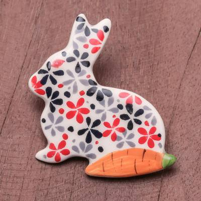 Ceramic brooch pin, 'Rabbit and Carrot' - Floral Ceramic Rabbit Brooch Pin from Thailand