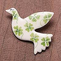 Ceramic brooch pin, 'Lucky Dove' - Four-Leaf Clover Ceramic Dove Brooch from Thailand