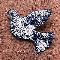 Ceramic brooch pin, 'Midnight Dove' - Blue Floral Ceramic Dove Brooch from Thailand